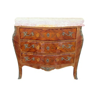 Mid-20th Century Louis XVI Style Marble Top Commode For Sale