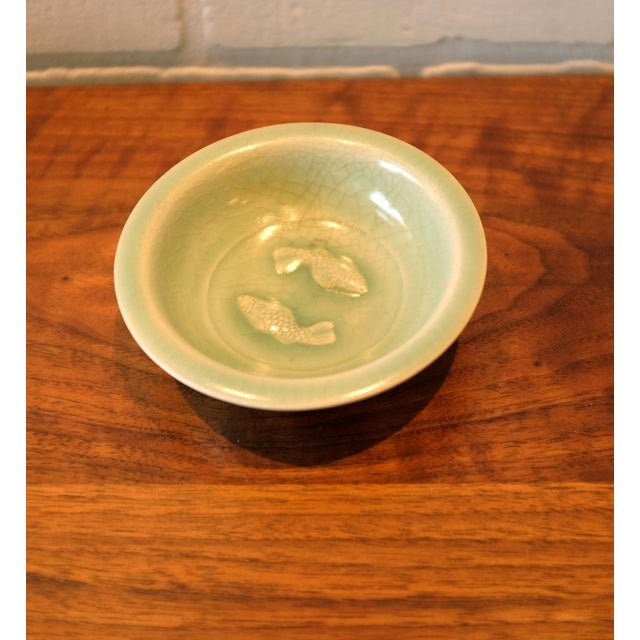 Asian Vintage Chinoiserie Ceramic Dish with Fish Motif For Sale - Image 3 of 7