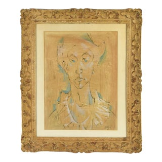Vintage Mid-Century Watercolor Painting Man in Ruffled Collar Signed Bond For Sale