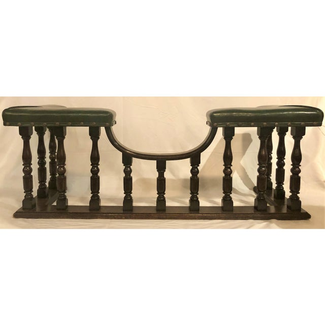 Antique English Country Oak and Leather Fireside Bench, Circa 1890. For Sale In New Orleans - Image 6 of 6