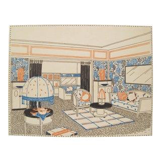 1920s French Art Deco Interior Design Sheet by Francis Jourdain