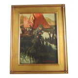 Image of Young Boy Fishing Oil Painting For Sale