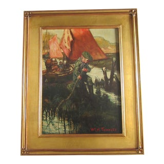 Young Boy Fishing Oil Painting For Sale