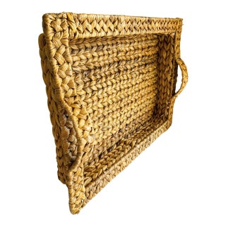 Natural Braided Sea Grass Rope Serving Tray For Sale