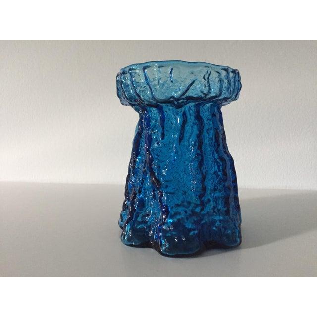 1960s Mid Century Modern Viking Textured Blue Glass Vase Chairish