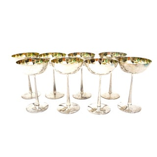 Gorgeous Vintage f.b. Rogers Silver Coupe Champagne Glasses -Set of 8 For Sale