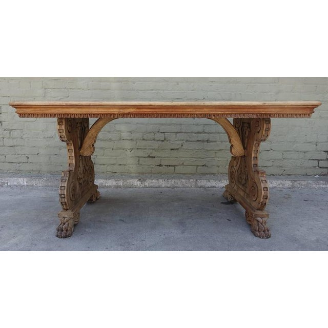 Late 19th Century Carved Italian Trestle Writing Table, Circa 1900 For Sale - Image 5 of 10