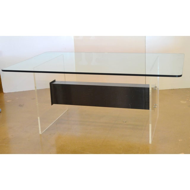 1970s Lucite, Glass and Steel Dining Table or Desk For Sale - Image 5 of 11