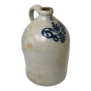 Antique American Blue Decorated Stoneware 2 Gallon Jug For Sale