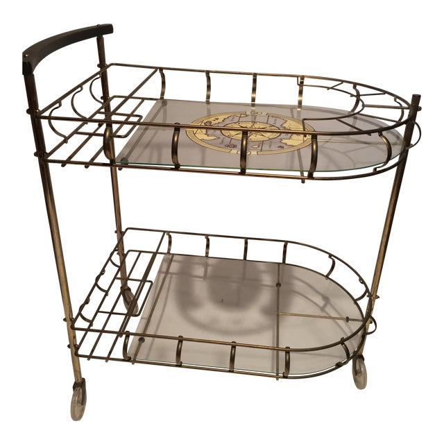 Mid-Century Brass Bar Cart With 6 Matching Glasses For Sale