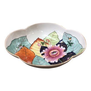 Hand Painted Tobacco Leaf Bowl