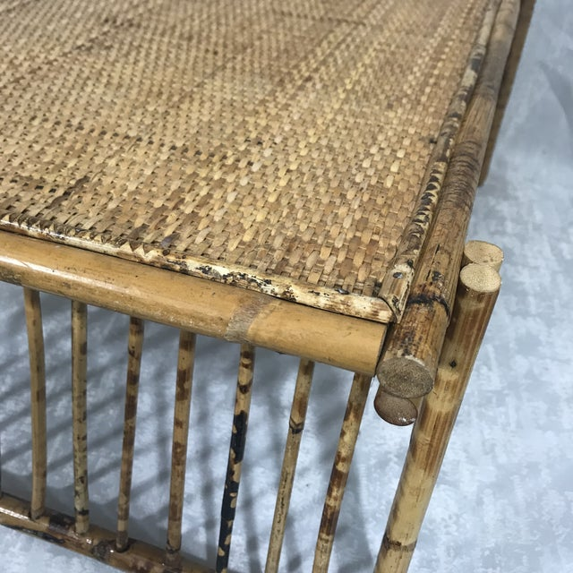 Mid 20th Century 20th Century Chinoiserie Tortoise Shell Bamboo & Rattan Folding Bed Tray Table For Sale - Image 5 of 7