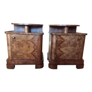 Circassian Walnut Art Deco Curved Nightstands - A Pair For Sale