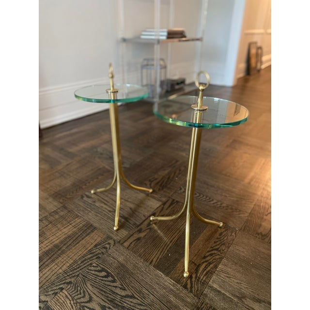 1950s 1950s Cesare Lacca Brass and Glass Drinks Tables - a Pair For Sale - Image 5 of 11