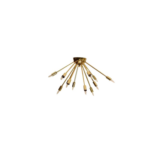 Mid-Century Vintage Brass Sputnik Light Fixture For Sale