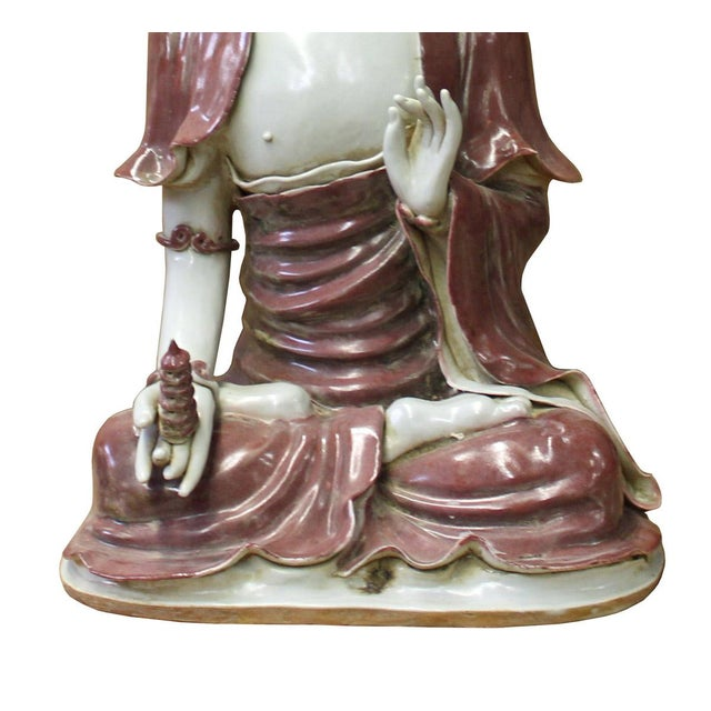 Asian Vintage Chinese Red Glaze Porcelain Sitting Buddha with Tower Statue For Sale - Image 3 of 7