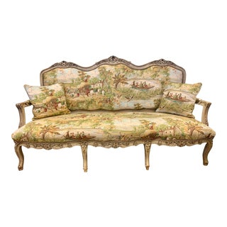 Louis XVI Carved Sofa With Tapestry Upholstery For Sale