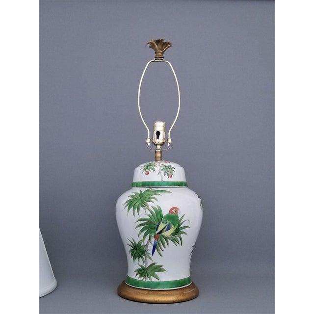 Vintage Parrot and Palm Leaf Ceramic Ginger Jar Table Lamp - Mid Century Organic Modern Boho Chic Tropical Coastal MCM For Sale - Image 4 of 11