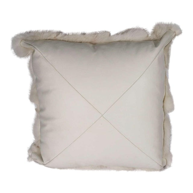 Genuine White Fox Pillow with White Leather Backing For Sale