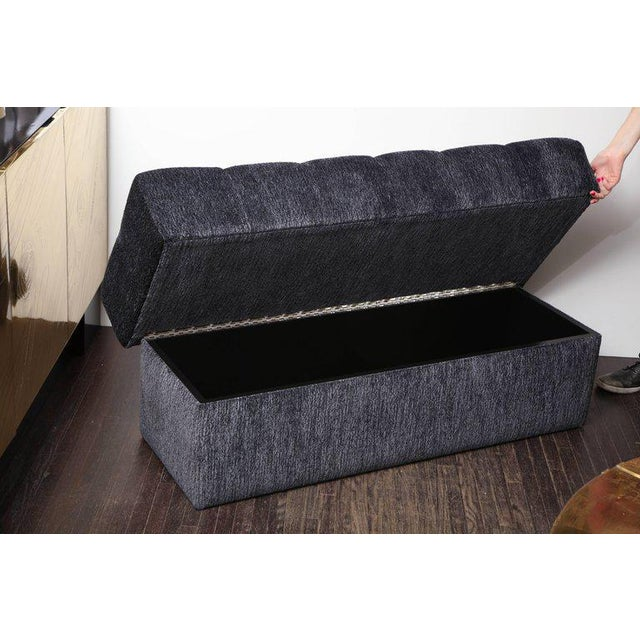 2010s Custom Tufted Bench with Interior Storage For Sale - Image 5 of 7