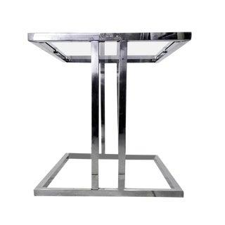 1970's Vintage Chrome Framed & Glass Side Table For Sale