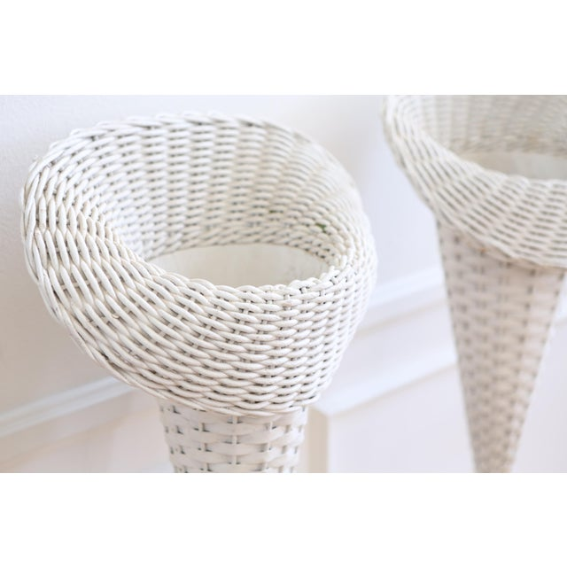 Vintage White Wicker Basket Planter Stands - A Pair For Sale - Image 4 of 8