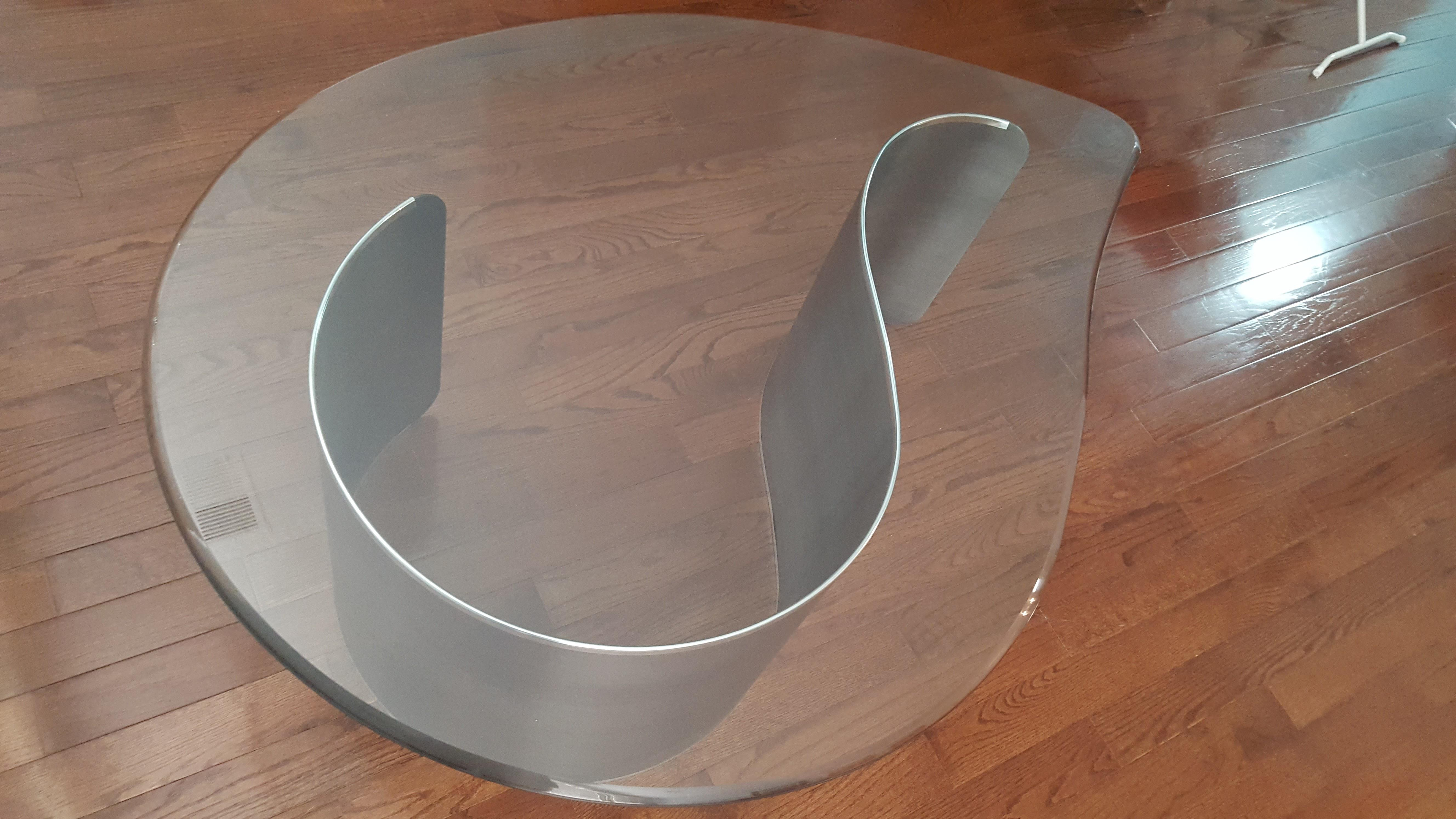 KaganStyle MidCentury Modern Glass Metal Biomorphic Coffee Table
