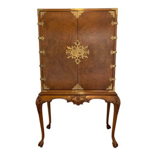 1980s Vintage Karges Queen Anne Walnut Cabinet on Stand For Sale