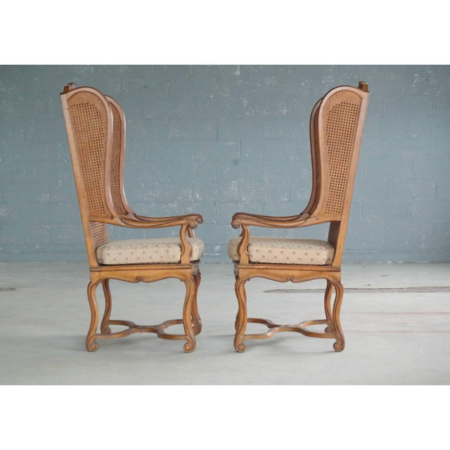 1920s Pair of 1920s Hollywood Regency Cane Wingback Chairs For Sale - Image 5 of 10