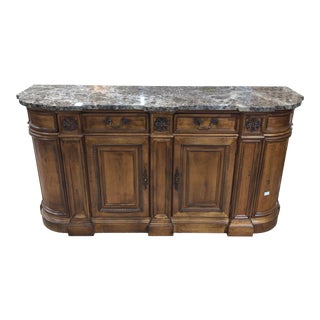 Hickory White Brown Marble Top Buffet For Sale