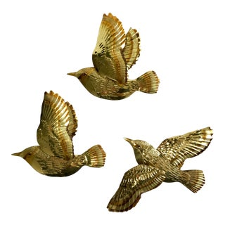 1970s Tin Gold Toned Birds in Flight Wall Decor - Set of 3 For Sale