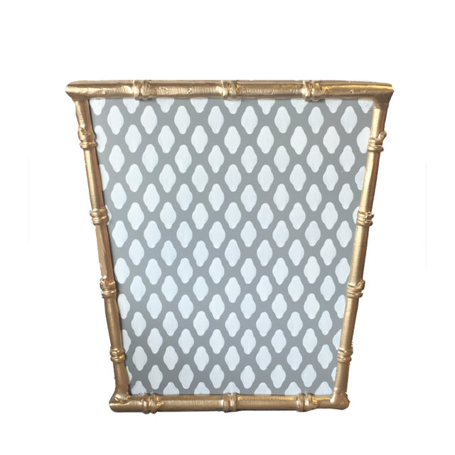 Traditional Traditional Style Gray Bamboo and Steel Wastebasket For Sale - Image 3 of 3