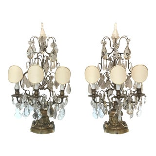 1910s Large French Bronze and Crystal Girandoles - a Pair For Sale