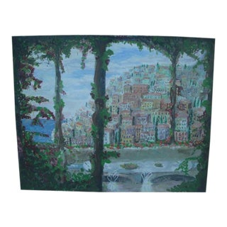 Mid 20th Century Impressionist Style Positano Cityscape Acrylic Painting For Sale