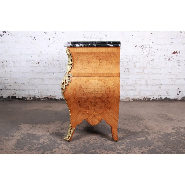 French Louis XV Style Inlaid Mahogany Marble Top Bombay Chest For Sale - Image 11 of 13