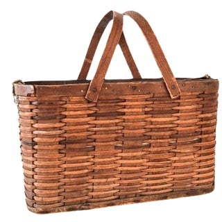 Antique Woven Apple Gathering Basket For Sale