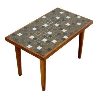 Mid Century Modern Martz Rectangular Ceramic Tile Top Walnut Side End Table 60s For Sale