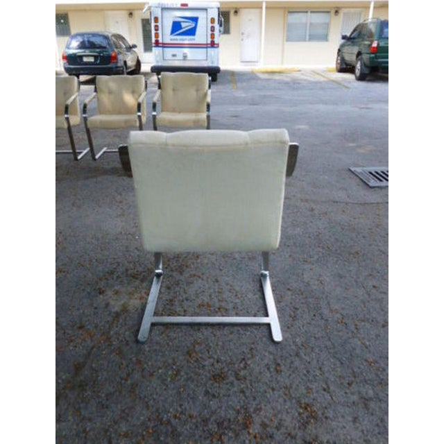 1970's Mid-Century Modern Brueton Heavy Thick Chromed Steel Arm Chairs - Set of 4 For Sale In Miami - Image 6 of 11