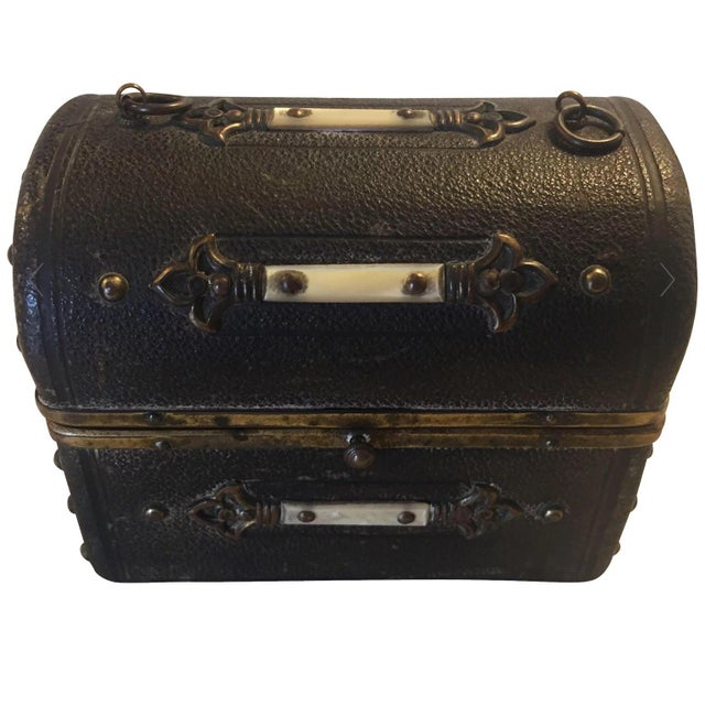 Continental Perfume Shagreen, Mother of Pearl Miniture Trunk With Gilt Filigree Crystal Bottles - 3 Pieces For Sale - Image 13 of 13