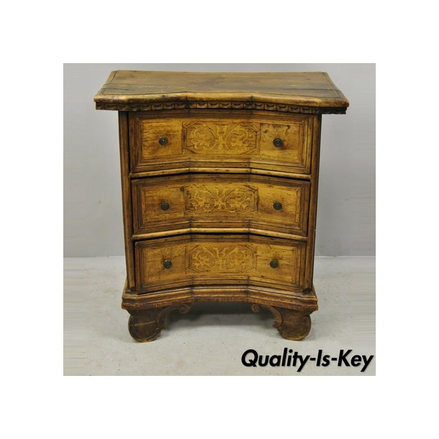Antique Italian Continental 3 Drawer Inlaid Walnut Commode Chest Nightstand For Sale - Image 12 of 12