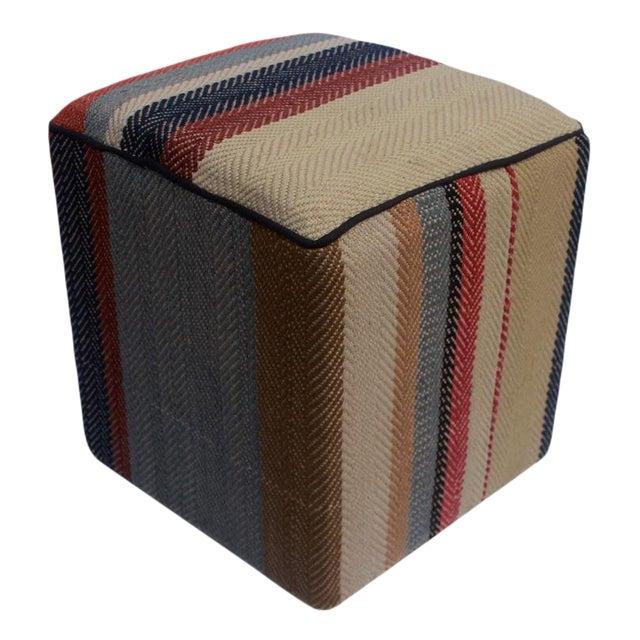 Arshs Dong Brown/Blue Kilim Upholstered Handmade Ottoman For Sale