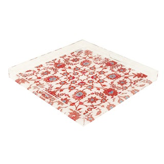 "Nicolette Mayer Bosphorus Red Turq 18""x18"" Acrylic Tray For Sale"