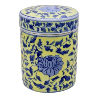 Mid-20th Century Canary Yellow and Blue Porcelain Lidded Jar For Sale