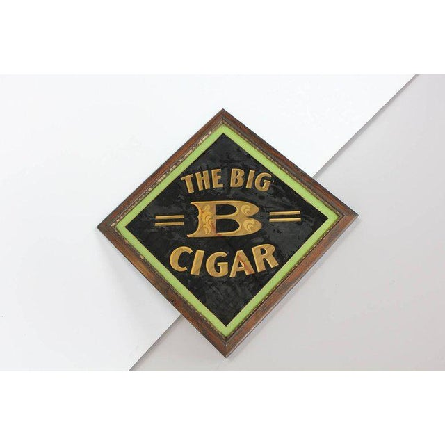 "Traditional Early 20th Century American ""The Big B Cigar"" Reverse Painted Glass Sign For Sale - Image 3 of 4"