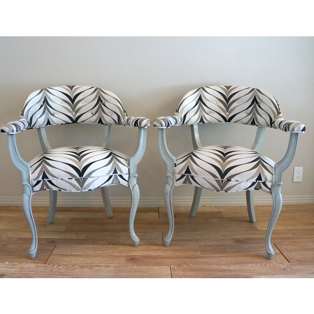 Vintage Art Deco Style Arm Chairs - Pair - Image 2 of 8
