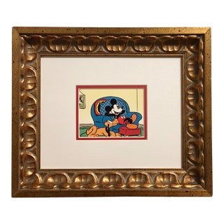 Vintage Framed Mickey & Pluto Disney Print For Sale