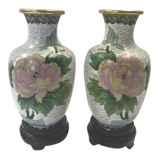 19th Century Chinese Cloisonné Vases on Stands - a Pair