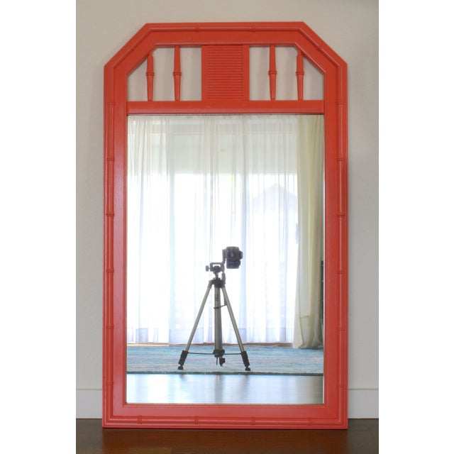 1960s Coral Faux Bamboo Hollywood Regency Mirror For Sale - Image 5 of 5
