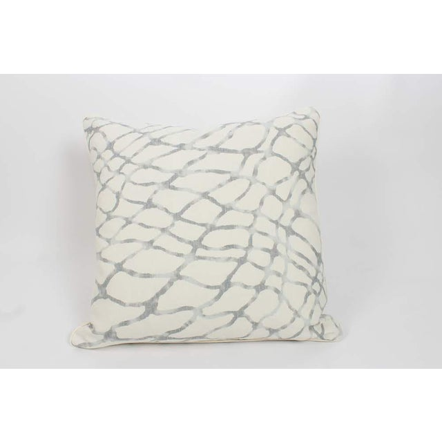 Pair of custom light blue-gray and ivory linen geometric abstract water pattern pillows made from a high end designer...