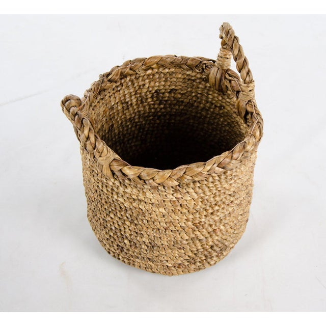 Woven Seagrass Handled Basket For Sale - Image 4 of 8
